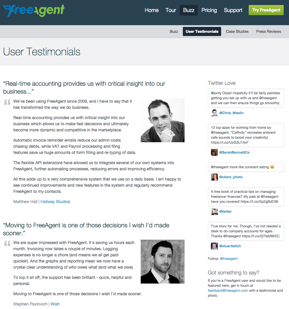 website testimonial page