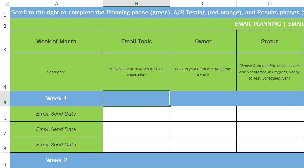 How to easily plan track your email marketing campaigns for Digital marketing campaign planning template