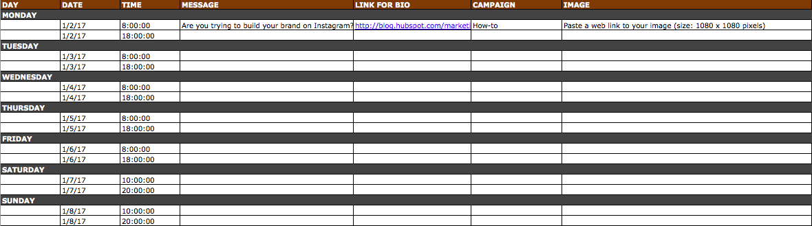 The Social Media Content Calendar Template Every Marketer Needs - Instagram calendar template
