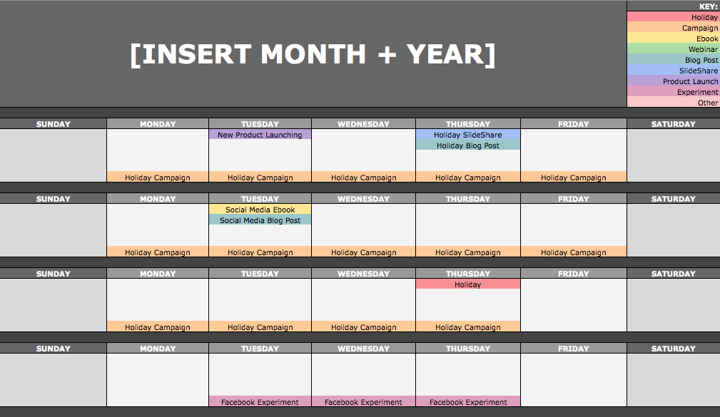 Monthly Content Calendar : The social media content calendar template every marketer