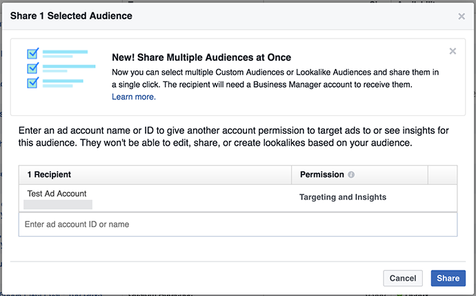 How to Share a Facebook Advertising Audience or Pixel | 10