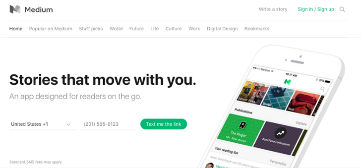 Medium Homepage Design   20 Of The Best Website Homepage Design Examples